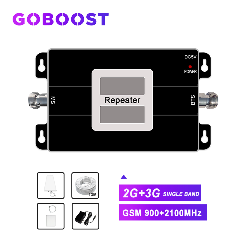 Gsm 900mhz Cellular Booster Mobile Phone Signal Repeater Dual Band 2g 3g Network Band1 2100mhz Wcdma LDPA+ceiling Antenna Kit -