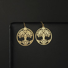 My Shape – boucles d'oreilles arbre de vie, créoles ethniques Vintage en acier inoxydable, grand pendentif rond Wicca, bijoux cadeau