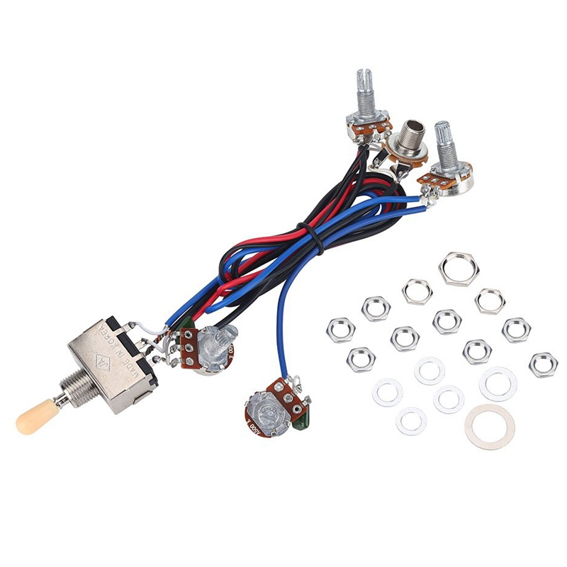 Lp Electric Guitar Pickups Wiring Harness Kit 2T2V 500K Pots 3 Way Switch With Jack For Dual Humbucker Gibson Les Pual Style Gui
