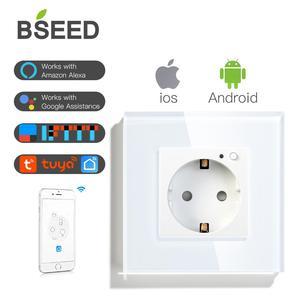 Image 1 - BSEED Wifi розетка стандарта ЕС умная розетка WIFI розетка белого, черного и золотого цвета 86*86 мм умный Wifi переключатель мониторинга
