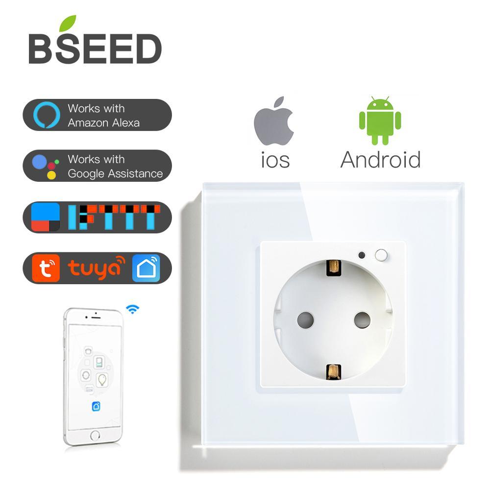 BSEED Wifi Wall Socket EU Standard Smart WIFI White Black Golden Colors 86*86mm