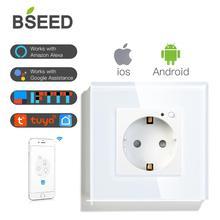 Bseed wifi tomada de parede padrão da ue tomada inteligente wifi branco preto dourado cores 86*86mm inteligente wi fi interruptor monitoramento