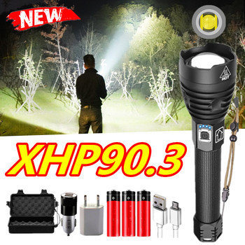 Highest lumen XHP 90.2 LED Flashlights XHP70 Zoom Tactical Torch Waterproof LED Flash Light 26650 USB Rechargeable Linterna image