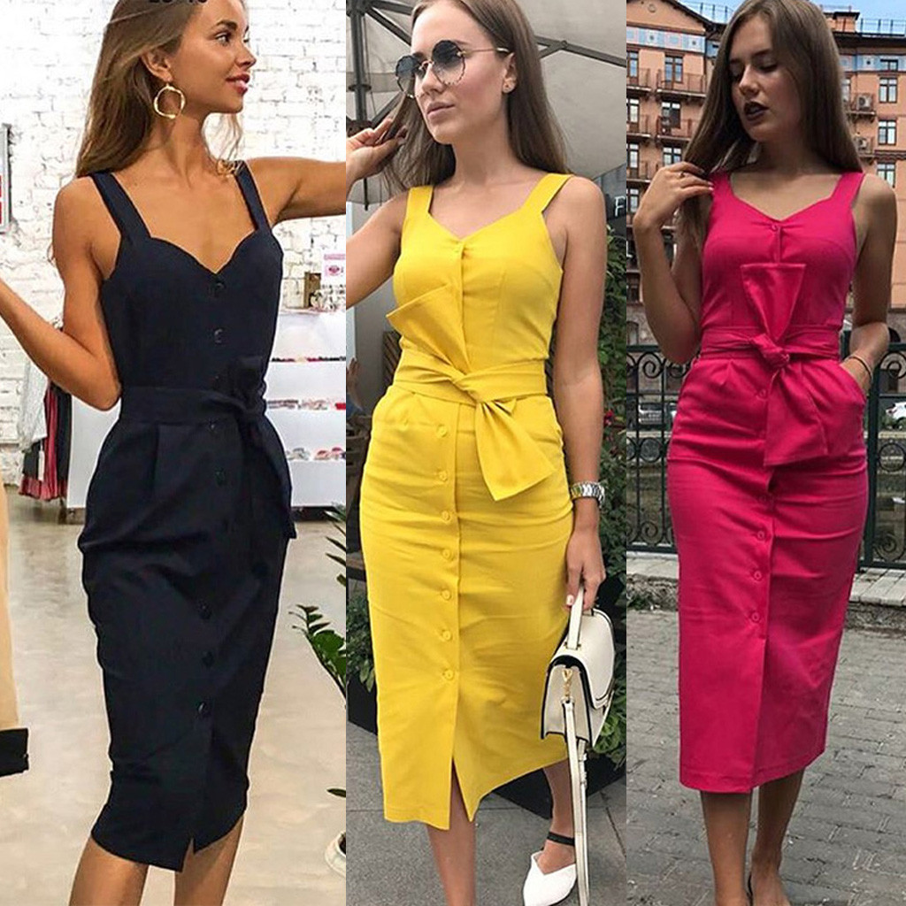 Women Solid Sleeveless V Neck Button Holiday Party Dress With Belt Vestido Mujer Roupas Feminina Slim Dresses#S