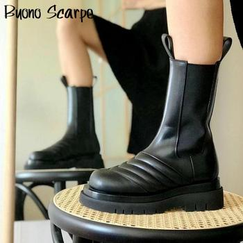 Winter Genuine Leather Chelsea Boots Women Platform Boots Luxury Brand Designer Ladies Botas Mujer Matin Boots Short Booties pointy chunky heel contrast color platform designer snake print elastic band 2015 fall genuine leather boots women patchwork page 4