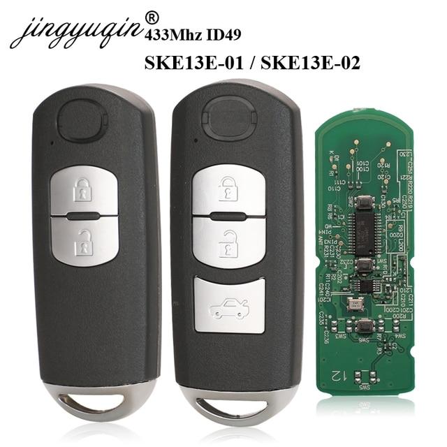 Jingyuqin 433 mhz id49 2/3 botões chave inteligente apto para mazda CX 3 CX 5 axela atenza modelo SKE13E 01 SKE13E 02 carro de controle remoto