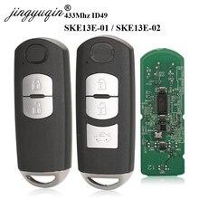 Jingyuqin 433Mhz ID49 2/3 boutons clé intelligente pour MAZDA CX 3 CX 5 Axela Atenza modèle SKE13E 01 SKE13E 02 télécommande de voiture
