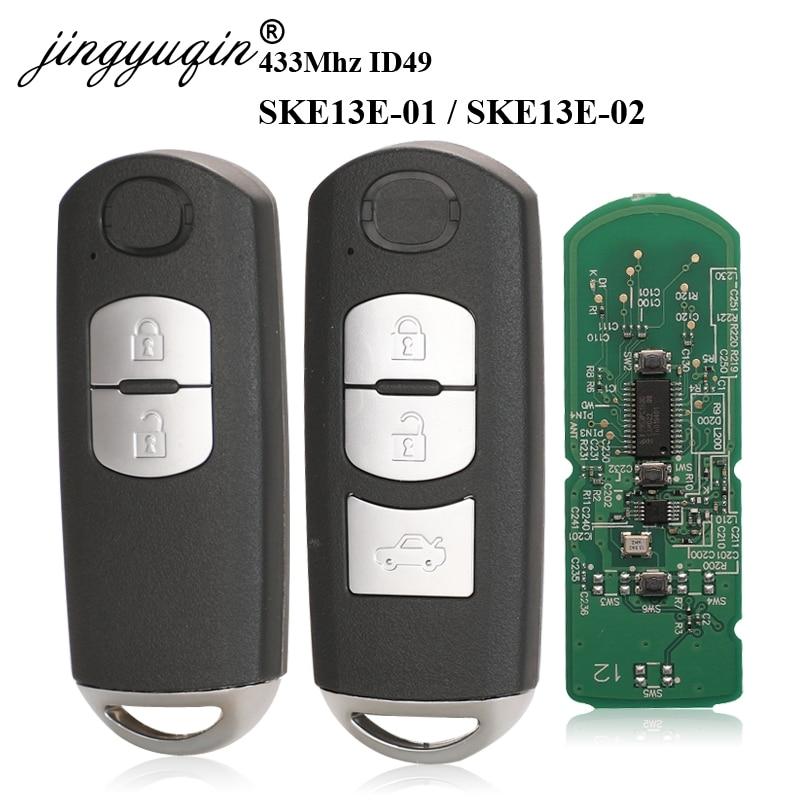 jingyuqin 433Mhz ID49 2/3 Buttons Smart Key Fit for MAZDA CX-3 Axela CX-5 Atenza Model SKE13E-01 SKE13E-02 Car Remote Control