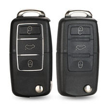 jingyuqin 3 botões remoto chave do carro flip Folding Key Shell Capa Para Volkswagen VW Jetta Golf Passat Beetle Skoda assento Polo B5