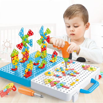 Kids Drill Screw Nut Puzzles Toys Pretend Play Tool Drill Disassembly Assembly Children Drill 3D Puzzle Toys For Boy