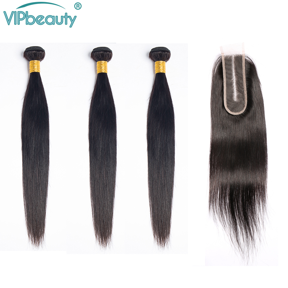 VIP beauty Peruvian Straight Remy Hair Bundles with Closure Natural Black Hair with 2x6 Lace Closure Middle Part Free Shipping-in 3/4 Bundles with Closure from Hair Extensions & Wigs    1