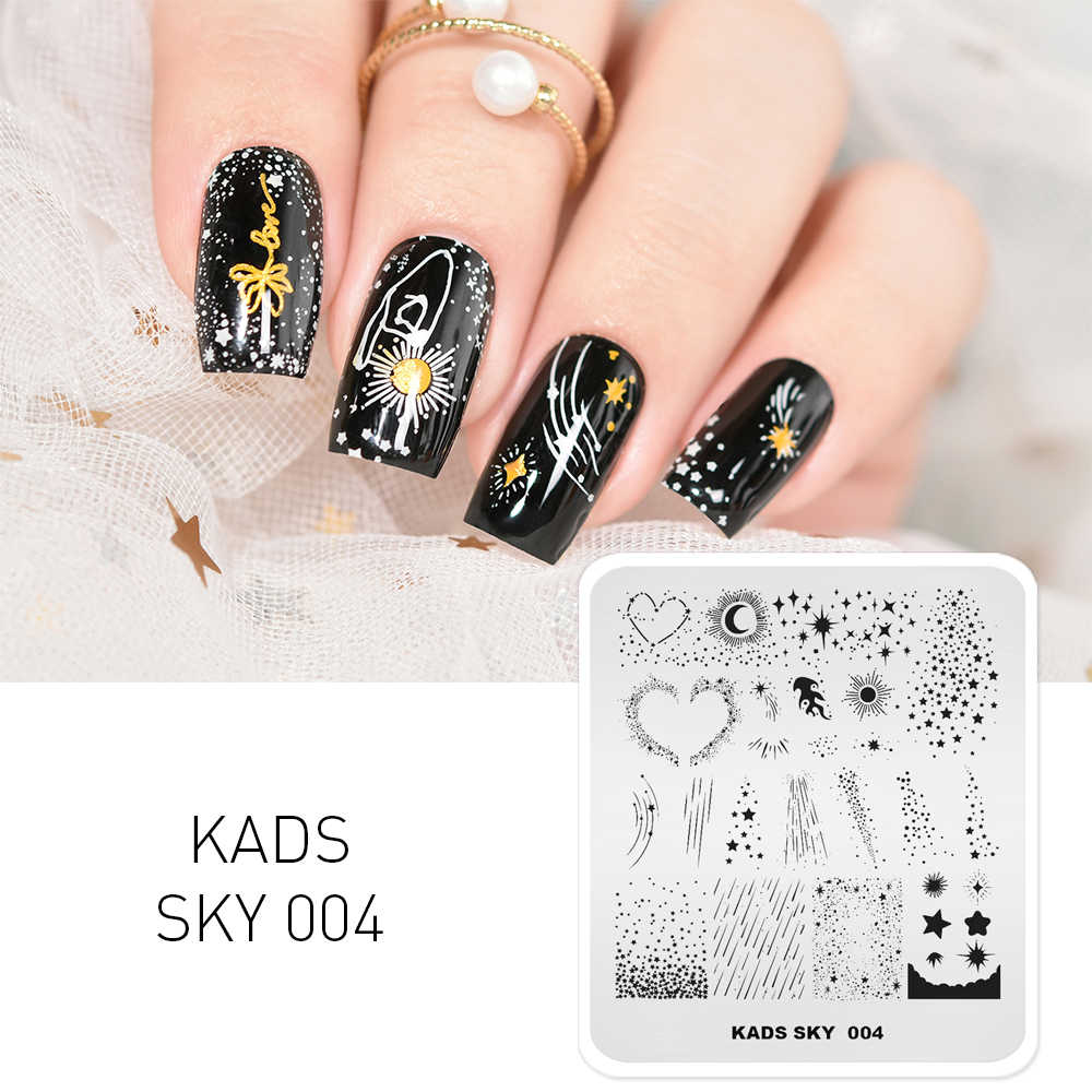 KADS Nail Art STAMP Template Starry Sky ออกแบบแผ่นปั๊มเล็บดาวดวงจันทร์ดาวตก Stencil สำหรับเล็บอุปกรณ์เสริม