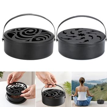 Hollow Out Mosquito Coil Holder Round With Handle Wrought Iron Anti Scald Garden
