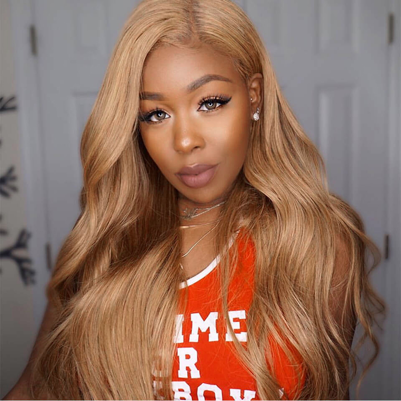 Brazilian Pre Plucked 13x4 Lace Front Human Hair Wigs With Baby Hair Honey Blonde 27 Body Wave Lace Wigs Remy Hair Wig KEMY HAIR