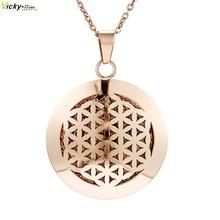 Розовое золото простой ароматерапия эфирные масла диффузор кулон парфюм ожерелье из нержавеющей стали медальон с фетровыми подушечками для женщин