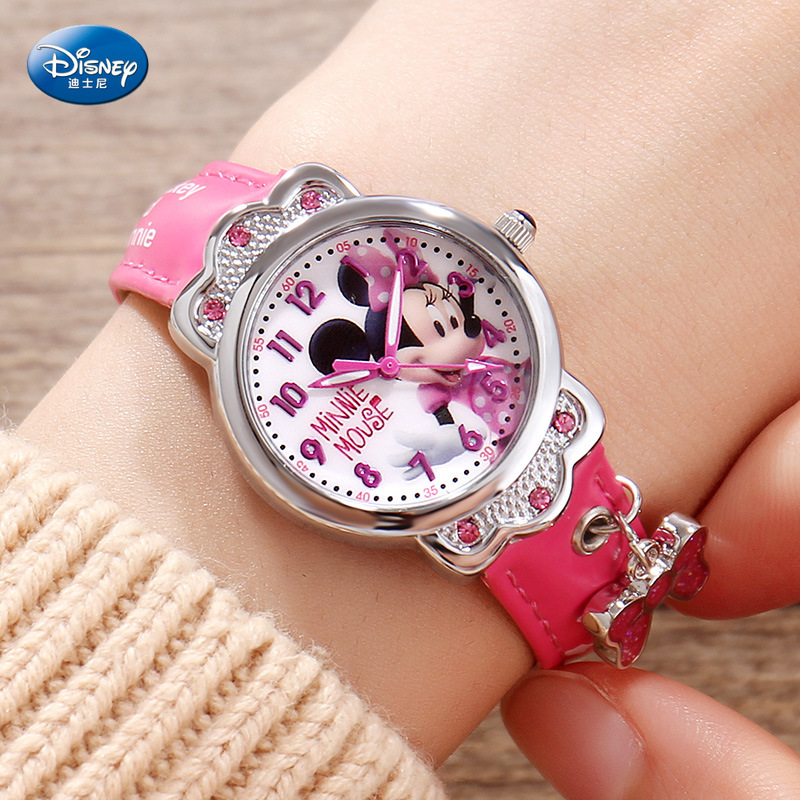 Disney Children's Quartz Wristwatch Girl Watch And Gift Cute Trend Personality Minnie Mouse Sophie Kids Watch Water Resistant