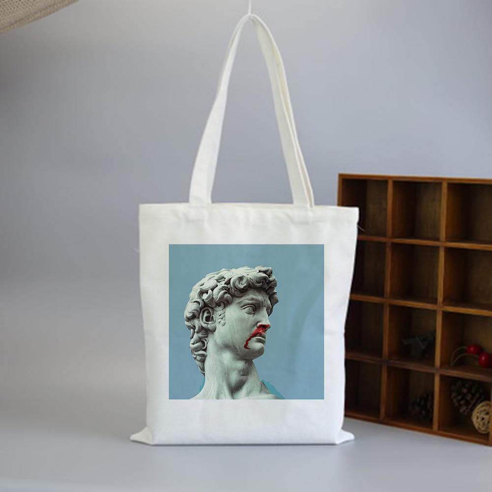 Vaporwave Canvas Bag White Female Cartoon Vintage Print Shoulder Bags Hip Hop Japanese Handbag Tote Bags Reusable Shopping Bag