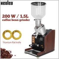 XEOLEO Electric Coffee grinder Flat burr Coffee miller 74mm flat wheel Burr grinders 200W/1.5L Coffee bean milling machine