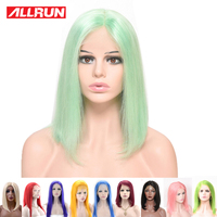 Short Bob 13*4 Lace Front Human Hair Wigs Colored Pink Yellow Mint Green Straight Brazilian Lace Wig for Black Women 10 16 inch