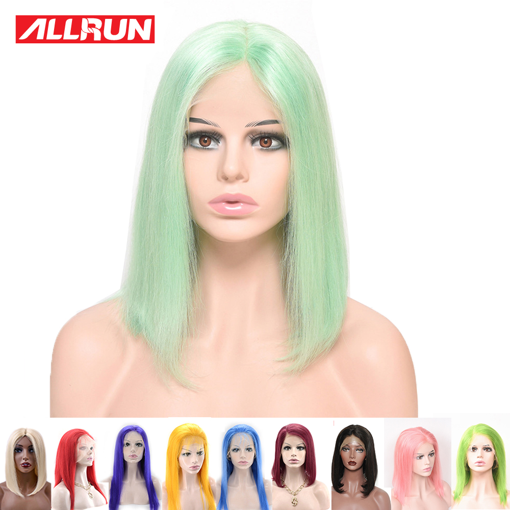 Short Bob 13*4 Lace Front Human Hair Wigs Colored Pink Yellow Mint Green Straight Brazilian Lace Wig For Black Women 10-16 Inch