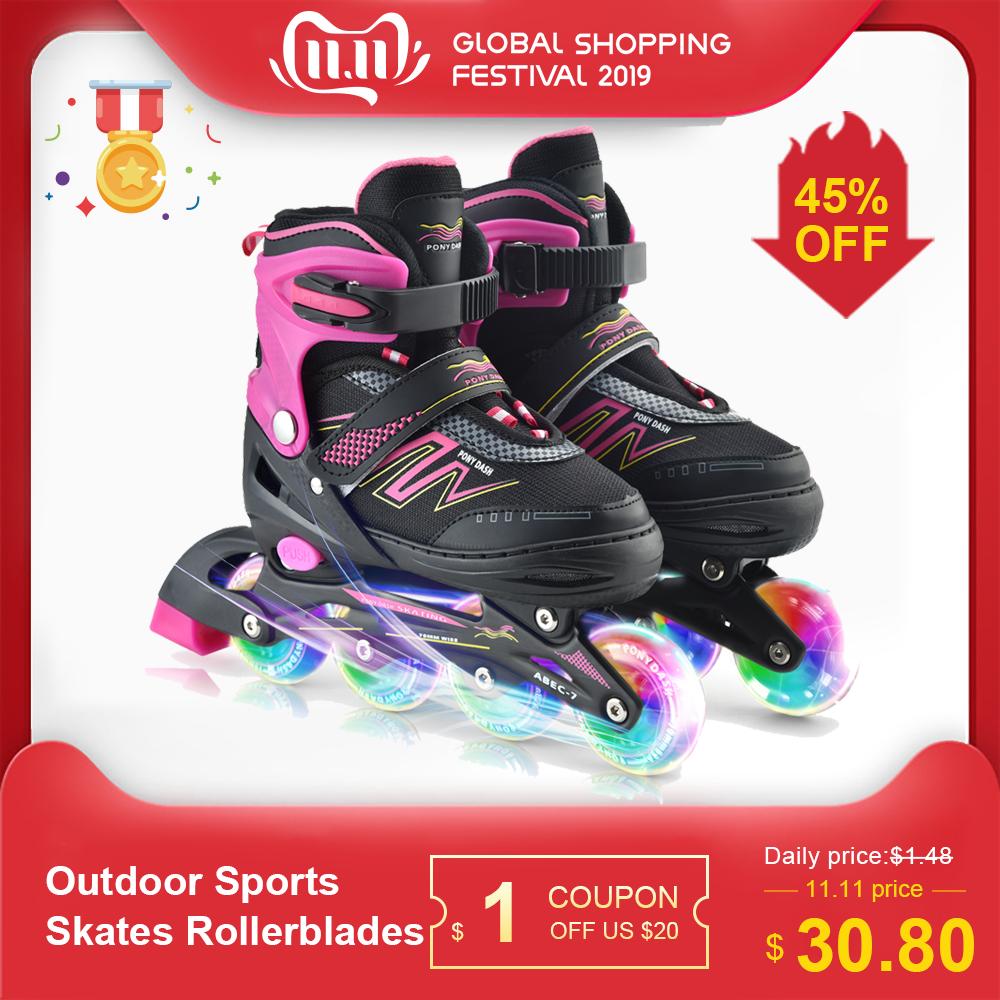 Outdoor Sports Skates Rollerblades Inline Adjustable Children Tracer For Kids Boys Girls Illuminating Wheels Roller Skates Shoes