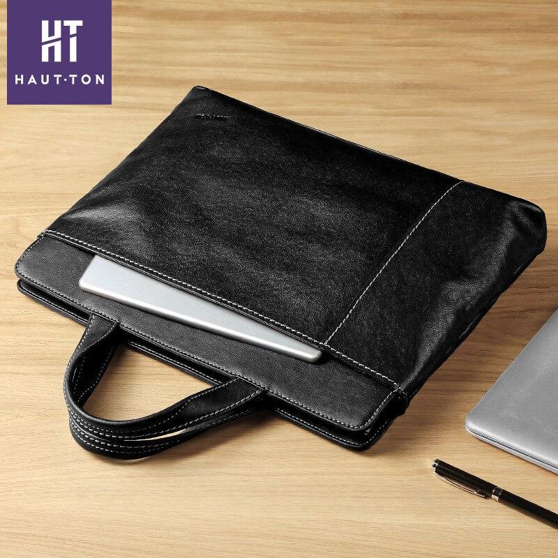 Black Briefcase Genuine Leather Casual Men Handbag Fashion Tote Bag Male Laptop Briefcase Bags High Quality Shoulder Men Bag