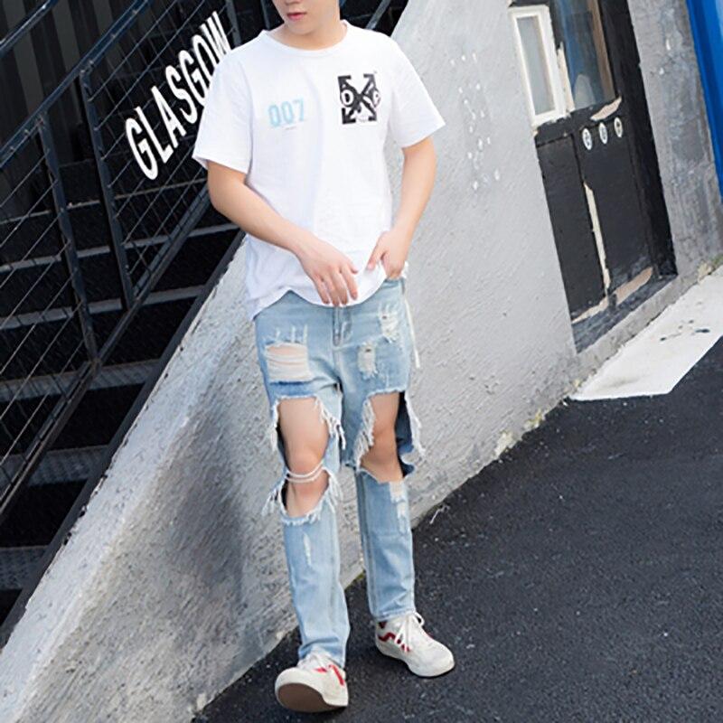 Наплыв мужские летние супер большие дыры утечки колена девять 9 очков джинсы для мужчин и женщин пара моделей корейской версии тонких брюк