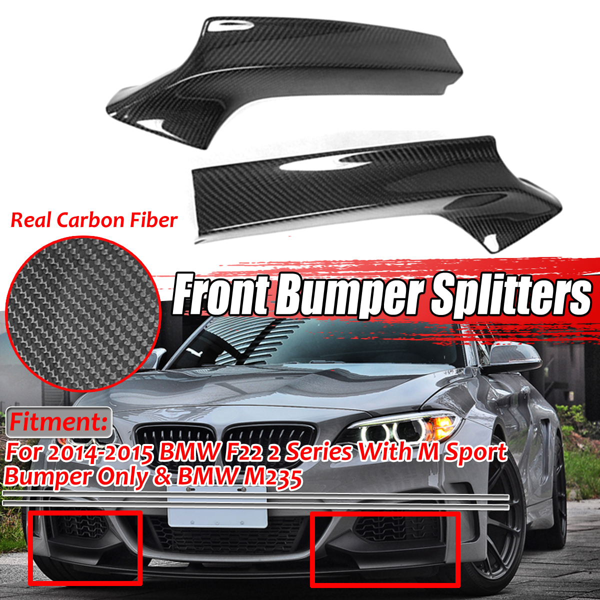A Pair Real Carbon Fiber Car Front Bumper Splitter Lip Spoiler Diffuser Body Kit Guard Fits For BMW M235i 2Dr F22 M-Tech 2014-16 image