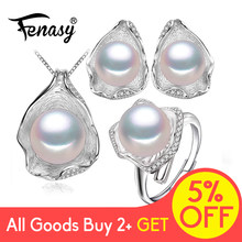 FENASY 925 Sterling Silver Freshwater Pearl Jewerly Sets For Women Boho Shell Design Earrings Luxury Ring Statement Necklace Set(China)