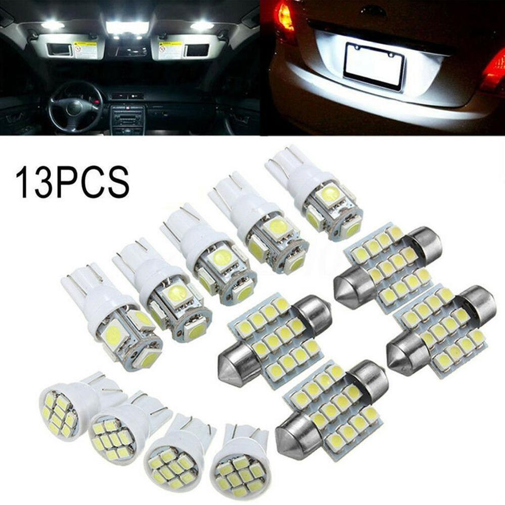 13pcs/Set T10 Auto Car Xenon White Replacement LED Light Bulbs Kit For Stock Interior & Dome & License Plate Lamps Tail Light