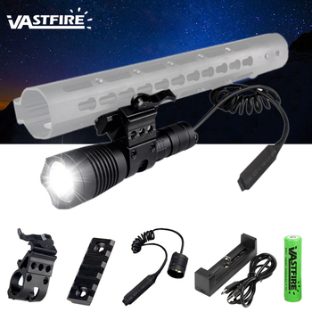 Linterna Led VASTFIRE patentado T4 1200 Lumen Tactical 384m linterna de caza a prueba de agua para el estándar del tejedor de 20mm carril