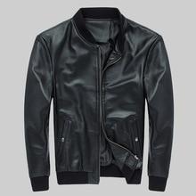 Фабрика FORTIME мужская куртка из натуральной кожи Повседневная ребра рукав/низ из воловьей кожи бейсбольные пальто S-4XL