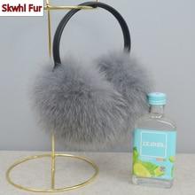 Russia Women Real Fox Fur Hang Ear Cover Warm Winter Earmuff Headwear Ear Muffs Earmuffs Cold Ear Warmer Ear Protection Headband