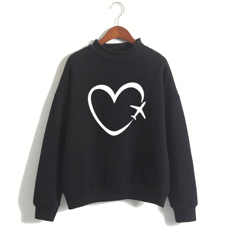 Women Travel Plane Heart Love Harajuku Hoodies Sweatshirts Girl Winter Pullovers Casual Black Brand 90S Clothes