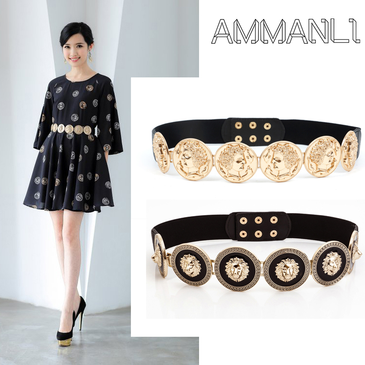 New Fashion Elastic Chain Belt For Women Golden Coin Dolphins Portrait Metal Waist Belts Apparel Dress Accessories  TS05