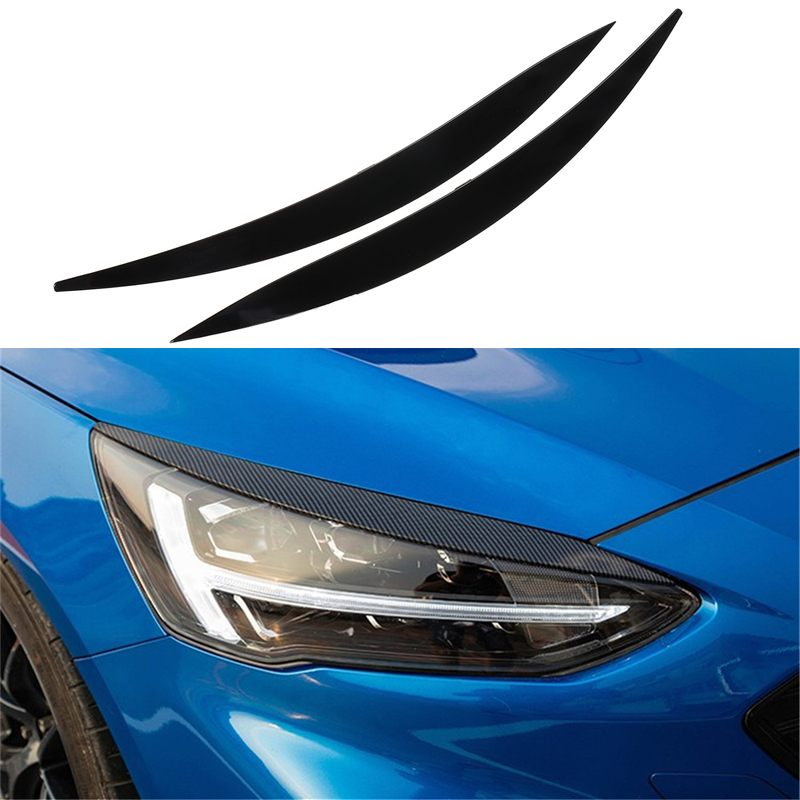 Car Carbon Fiber Style Headlight Eyebrow Cover Decoration Stickers Car Exterior Headlight Accessories For Ford Focus 2019 2020
