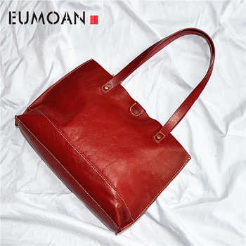 EUMOAN New women's bag planted suede women's bag retro oil wax head layer simple bag in the bag - DISCOUNT ITEM  50% OFF All Category