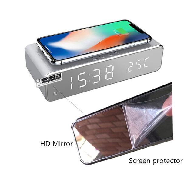Electric LED alarm clock with phone wireless charger Desktop digital thermometer clock HD mirror clock with date 12/24 h switch 6