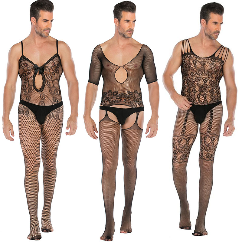 Men Stockings Exotic Apparel <font><b>Sexy</b></font> Pantyhose Open Crotch Body Latex <font><b>Catsuit</b></font> <font><b>Lingerie</b></font> Teddy <font><b>Bodysuit</b></font> Gay Men Costumes image