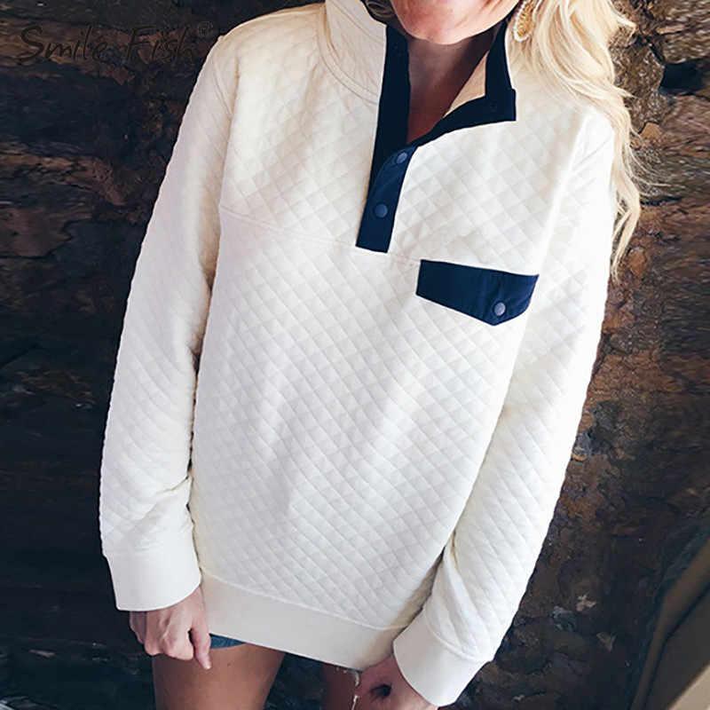 Sonbahar kadın tişörtü uzun kollu Hoodies 2019 kış kadın turn-aşağı yaka Casual düğme Tops kazak artı boyutu GV038