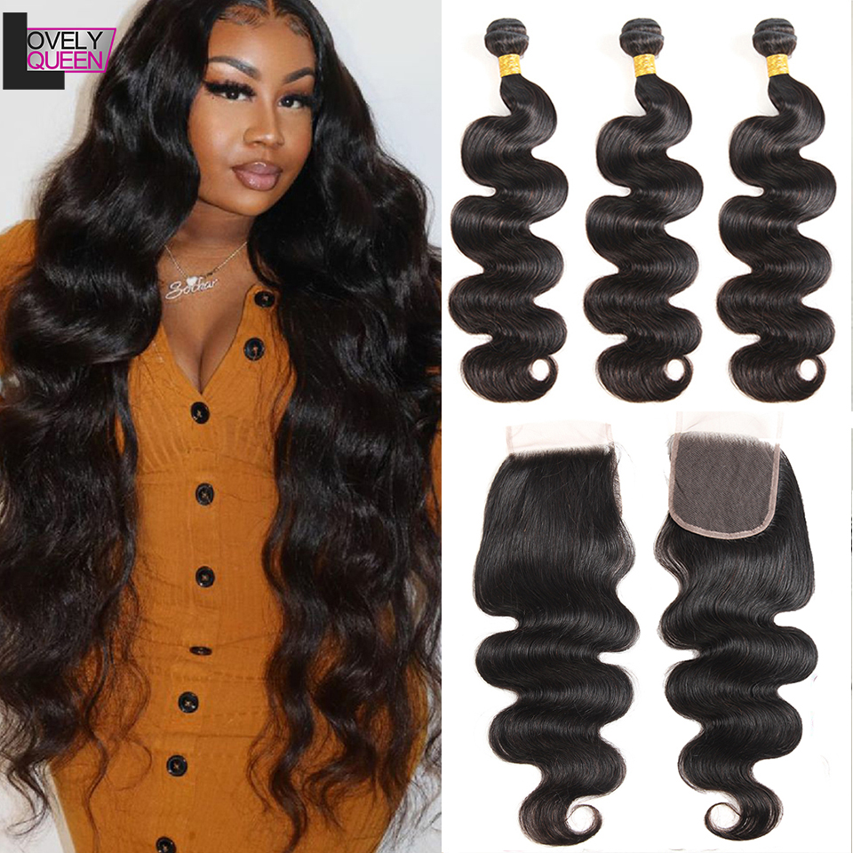 30 Inch Bundles Indian Human Hair Bundles With Closure Body Bundles With Closure Remy Hair Weave