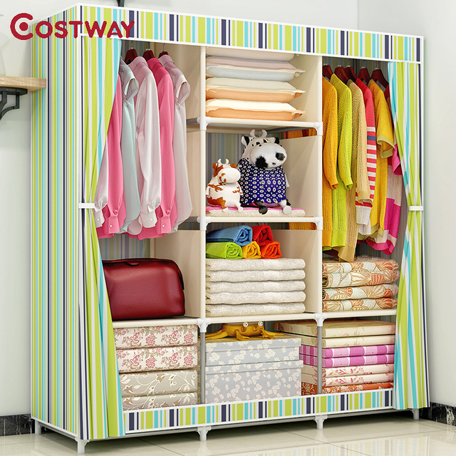 Armario de tela COSTWAY para ropa tela plegable armario portátil armario de almacenamiento dormitorio muebles para el hogar armario ropero muebles
