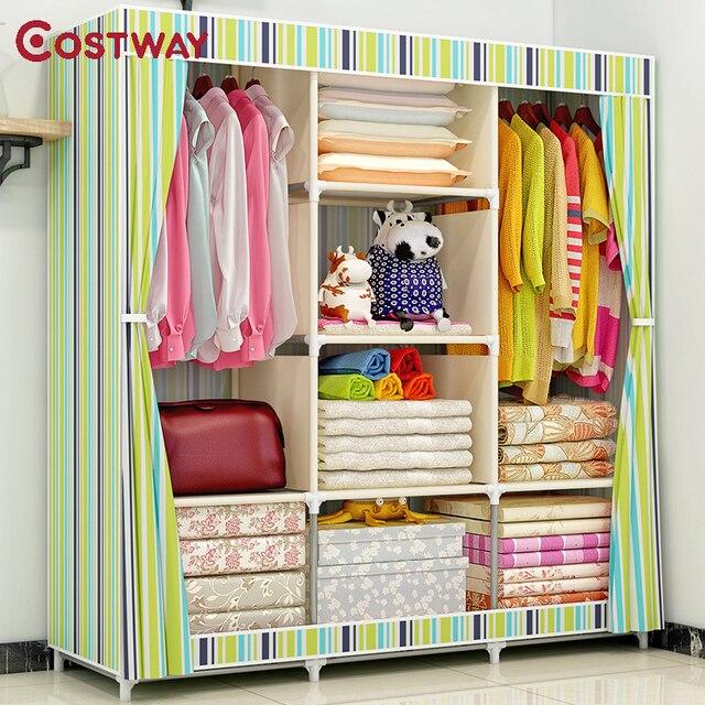 Armoire en tissu COSTWAY pour vêtements tissu pliant Portable placard armoire de rangement chambre meubles de maison armario ropero muebles
