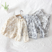 2020 spring new arrival 2-8Y Sweet girls Flower print top Brand Lace crew neck long sleeve T-shirt kids Cotton clothes Gifts 3d flame bird print crew neck long sleeve t shirt