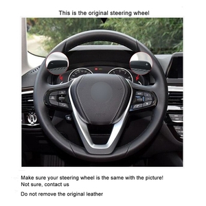 Image 3 - Hand stitched Black PU Faux Leather Car Steering Wheel Cover for BMW G20 G21 G30 G31 G32 X3 G01 X4 G02 X5 G05 X7 G07 Z4 G29