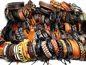 Image 2 - MixMax 50pcs/pack assorted retro Handmade mens top Genuine Leather tribal surfer cuff bracelets mix styles