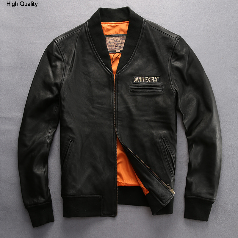 Fashion V-neck Baseball Leather Jacket Men Semi-vegetable Tanned Sheeepskin Balck Leather Coat For Men Style Biker Jacket Male