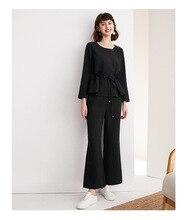Zestaw jesień nowy dwuczęściowy zestaw talii pokaż cienki okrągły dekolt w talii + mikro kaszel spodnie odzież damska