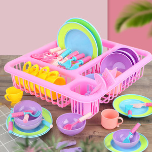 Kids Pretend Play Dishes Kitchen Playset Wash and Dry Tableware Dish Rack Toy with Drainer(China)