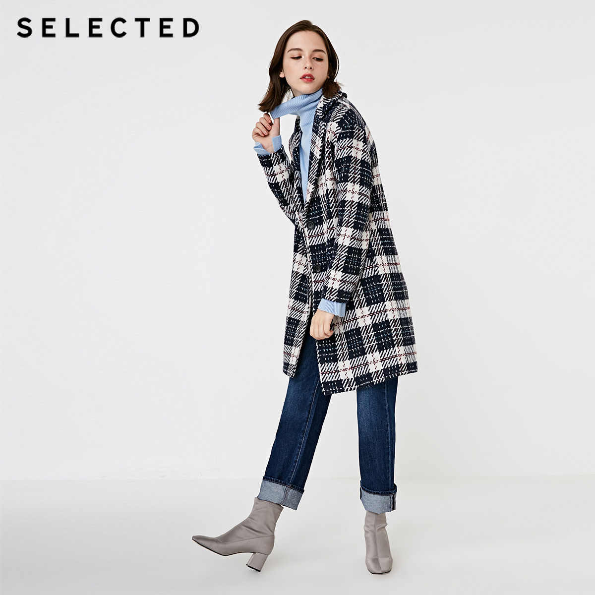 SELECTED Autumn and winter new women's with wool contrast plaid woolen coat S |418427512